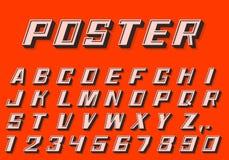 Nombres de police de l'affiche 3d et style de lettres rétro Photographie stock