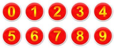 Nombres de poteau de signalisation réglés Photo libre de droits