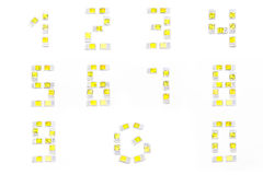 Nombres de Simcard d'isolement sur le fond blanc Images libres de droits
