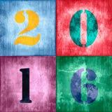 2016, nombres de vintage sur le fond coloré texturisé Image libre de droits