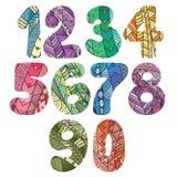 Nombres de Zentangle réglés Collection de nombres de griffonnage avec des éléments de zentangle Photos libres de droits