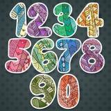 Nombres de Zentangle réglés Collection de nombres de griffonnage avec des éléments de zentangle Photographie stock libre de droits