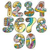 Nombres de Zentangle réglés Collection de nombres de griffonnage avec des éléments de zentangle Images stock