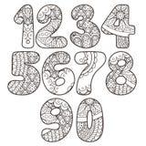 Nombres de Zentangle réglés Collection de nombres de griffonnage avec des éléments de zentangle Photo libre de droits