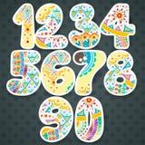 Nombres de Zentangle réglés Collection de nombres de griffonnage avec des éléments de zentangle illustration de vecteur