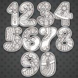 Nombres de Zentangle réglés Collection de nombres de griffonnage avec des éléments de zentangle Photos stock