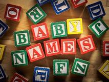 Nombres del bebé Fotografía de archivo libre de regalías