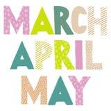 Nombres del mes de la primavera Marzo, abril, puede Imagen de archivo libre de regalías