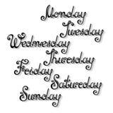 Nombres del vector de los días de la semana Fotografía de archivo