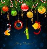 Nombres drôles de nouvelle année pendant de l'arbre de sapin illustration libre de droits