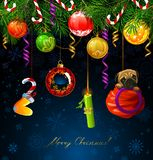 Nombres drôles de nouvelle année pendant de l'arbre de sapin Le symbole du chien de nouvelle année est dans le sac de Santa illustration libre de droits