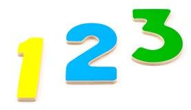 Nombres en bois 1 2 3 Image stock
