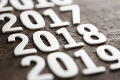 2018 nombres en bois Photo stock