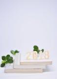 Nombres en bois 2018 sur des livres verticaux Photo libre de droits