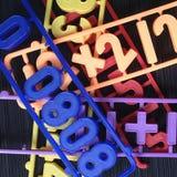 Nombres en plastique d'aimants Photos stock