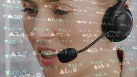 Nombres femelles de fonctionnement et de marché boursier d'agent de centre d'appel banque de vidéos