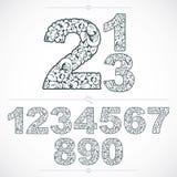 Nombres fleuris de style d'écologie, numération de vecteur faite utilisant le natu Image libre de droits