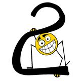 Nombres heureux d'alphabet - 2 deux Images stock