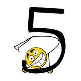 Nombres heureux d'alphabet - 5 cinq Photographie stock