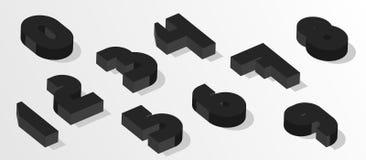 Nombres isométriques noirs nombres de l'effet 3d Nombres de vecteur pour toute conception de typographie illustration de vecteur