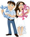 Nombres juifs de prise de garçon et de fille pour le Mitzvah de batte de barre Image stock