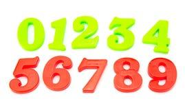 Nombres magnétiques en plastique colorés Images stock