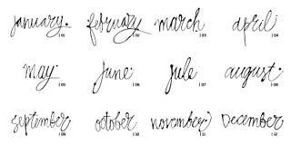 Nombres manuscritos de los meses diciembre, enero, febrero, marzo, abril, mayo, junio, julio, August September October ilustración del vector