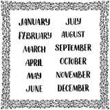 Nombres manuscritos de meses: Diciembre, enero, febrero, marzo, abril, mayo, junio, julio, August September October November stock de ilustración