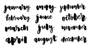 Nombres manuscritos de meses: Diciembre, enero, febrero, marzo, April May June July August septiembre octubre noviembre stock de ilustración