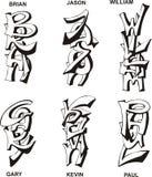 Nombres masculinos estilizados Foto de archivo