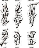 Nombres masculinos estilizados Imagen de archivo