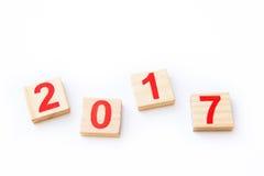 Nombres, 2017, nouvelle année, en bois, bois Photographie stock