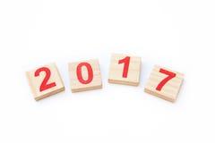 Nombres, 2017, nouvelle année, en bois, bois Photo stock