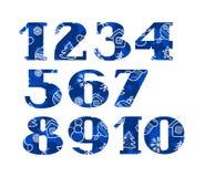 Nombres, police de Noël, hiver, bleu, vecteur Photo libre de droits