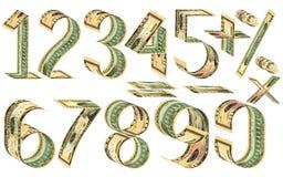 Nombres, pour cent et signes mathématiques des dollars Image libre de droits