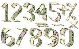 Nombres, pour cent et signes mathématiques des dollars Photos libres de droits