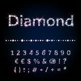 Nombres réglés de police brillante de diamant et symboles spéciaux Illustration Libre de Droits