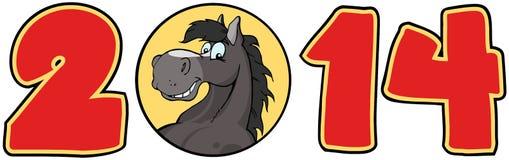 Nombres rouges de 2014 ans avec le visage de cheval au-dessus d'un cercle illustration libre de droits