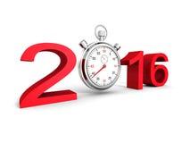 2016 nombres rouges de signe avec le chronomètre classique illustration libre de droits
