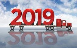 Nombres rouges géants 2019 sur un camion à plat - illustration 3D photographie stock libre de droits