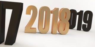 2018 nombres rouges sur les chiffres foncés brouillés de fond de 2017 et de 2019 Image libre de droits