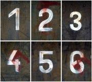 Nombres rouillés 1-6 Photographie stock libre de droits