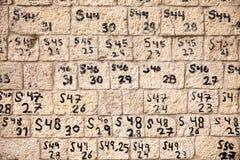 Nombres sur le mur Image libre de droits