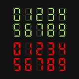 Nombres verts et rouges de Digital réglés Vecteur Illustration Stock