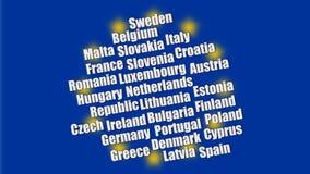 Nombres y bandera del estado de la UE fotos de archivo