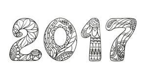2017 nombres Zentangle illustration stock