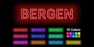 Nome al neon della città di Bergen royalty illustrazione gratis