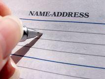 Nome & endereço? Fotografia de Stock