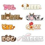 Nome animal bonito engraçado do texto ilustração do vetor