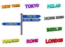 Nome da cidade do mundo da colagem em 3d Imagem de Stock Royalty Free